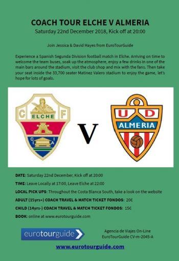 EuroTourGuide Coach Tour Elche CF v UD Almeria Saturday 22nd December 2018