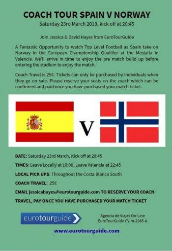 EuroTourGuide Coach Tour Spain v Norway 23rd March 2019