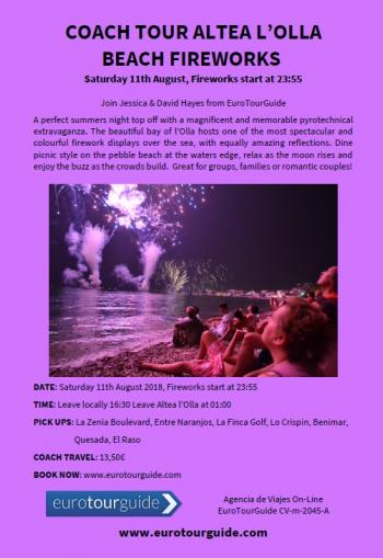 EuroTourGuide Coach Tour Coach Tour Altea l'Olla Beach Fireworks 11th August 2018