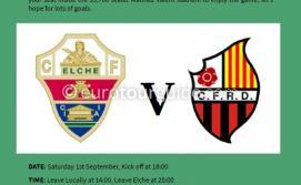 EuroTourGuide Coach Tour Elche CF v Reus Deportiu CF Saturday 1st September 2018