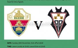 EuroTourGuide Coach Tour Elche CF v Albacete SAD Sunday 25th November 2018