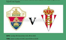 EuroTourGuide Coach Tour Elche CF v Real Sporting Gijon Sunday 9th December 2018