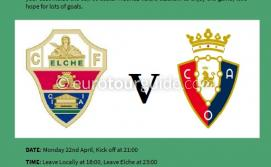 EuroTourGuide Coach Tour Elche CF v Osasuna 22nd April 2019