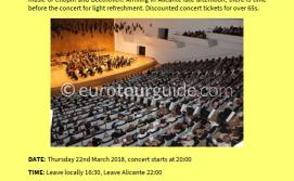 Coach Tour Orchestral Concert ADDA Alicante 22nd March 2018