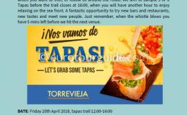 Coach Tour Torrevieja Tapas Route 20th April 2018