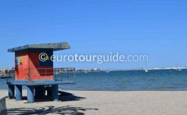 Where to go in Santiago de la Ribera Mar Menor Murcia Spain, the beaches are safe with life guards on duty in summer  one of many things to do and places to visit here.