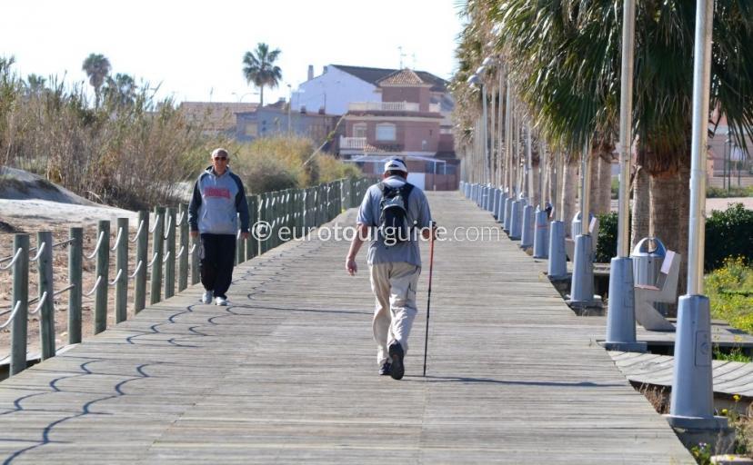 Walkign along the coastal route at Torre de la Horadada
