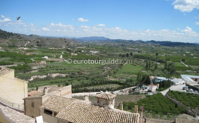 Where to go in Cehegin Inland Murcia Spain, Climb to the top of the village for great views across the countryside one of many places to visit and things to do