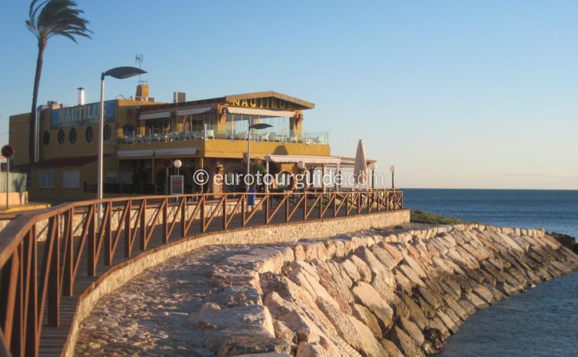 Punta Prima beach front bars, cafes and restaurants