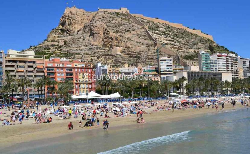 Castillo Santa Barbara, Castle and Beach Alicante City Spain one of many things to do and places to visit