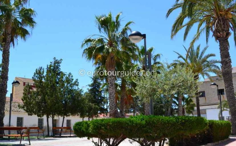Things to do in Avileses Murcia Spain, relax in the village square one of many places to visit here.