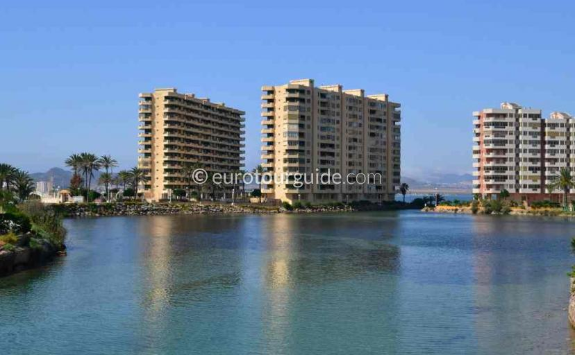 Holiday in La Manga Mar Menor Costa Calida Murcia Spain, swimming in the calm waters of the mar menor is one of many things to do and places to visit here.