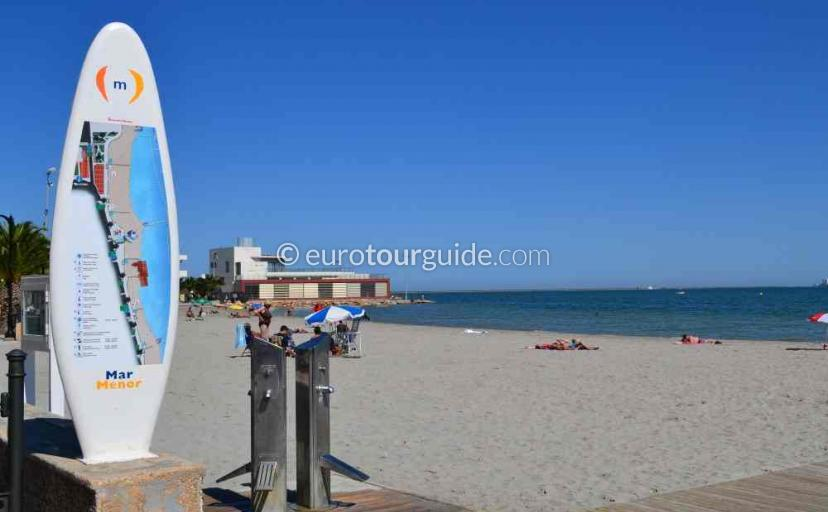 Tourist information in Lo Pagan Mar Menor Costa Calida Murcia Spain, A day on the beach one of many things to do and places to visit here.