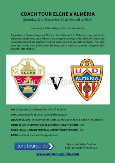 EuroTourGuide Coach Tour Elche CF v UD Almeria Saturday 22nd December 2018