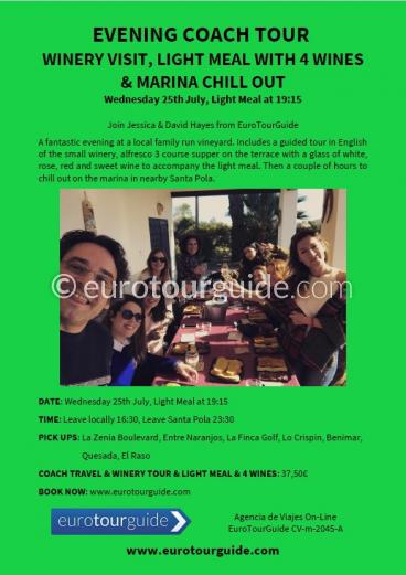 EuroTourGuide Coach Tour Winery, Tasting, Meal & Marina Chill Out 25th July 2018