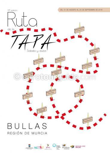 Bullas Tapas Route Weekends 31st August - 23rd September 2018