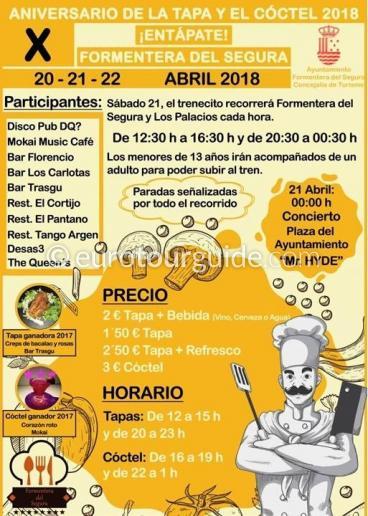 Formentera del Segura 10th Tapas & Cocktail Route 20th-22nd April 2018