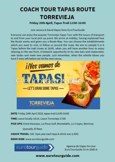 Coach Tour Torrevieja Tapas Route 20th April 2018