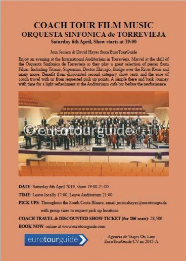 EuroTourGuide Coach Tour Film Music Concert Torrevieja 6th April 2019