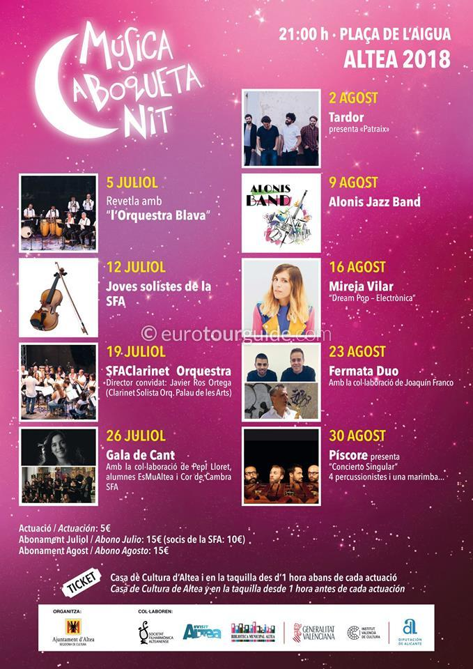Altea Summer Night Concerts Musica a Boqueta Nit August 2018