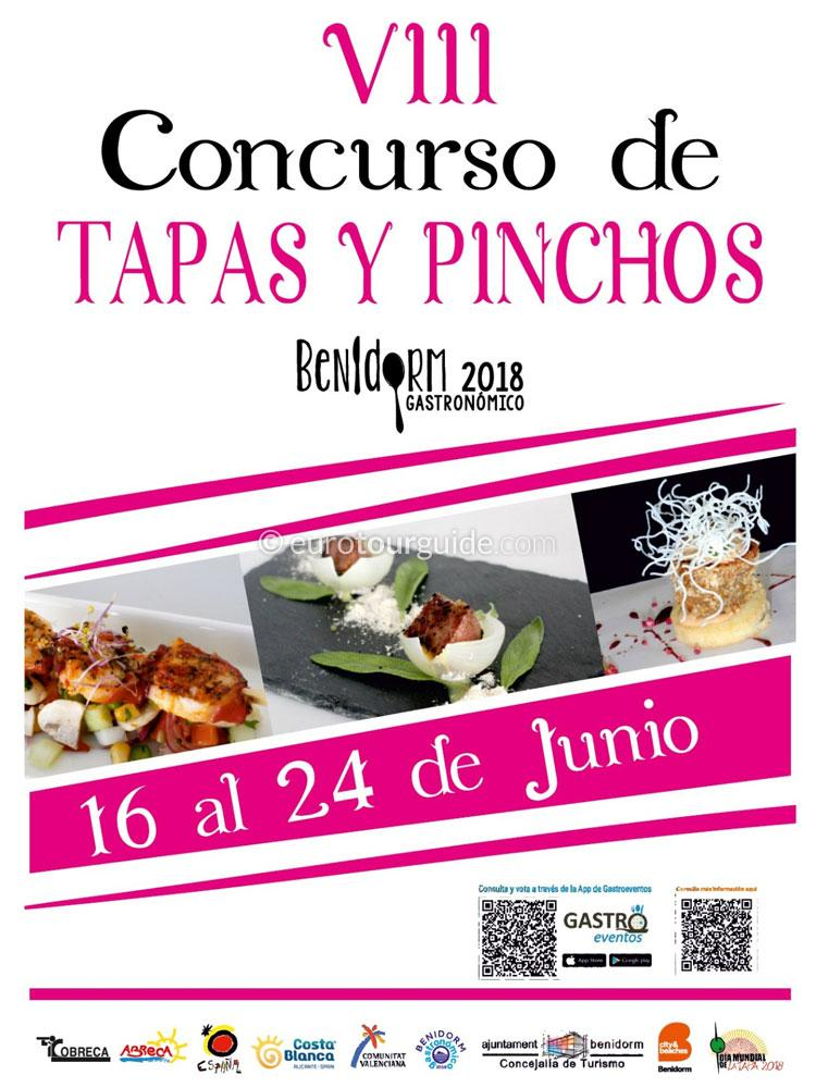 Benidorm 8th Tapas and Pinchos Route 16th-24th June 2018