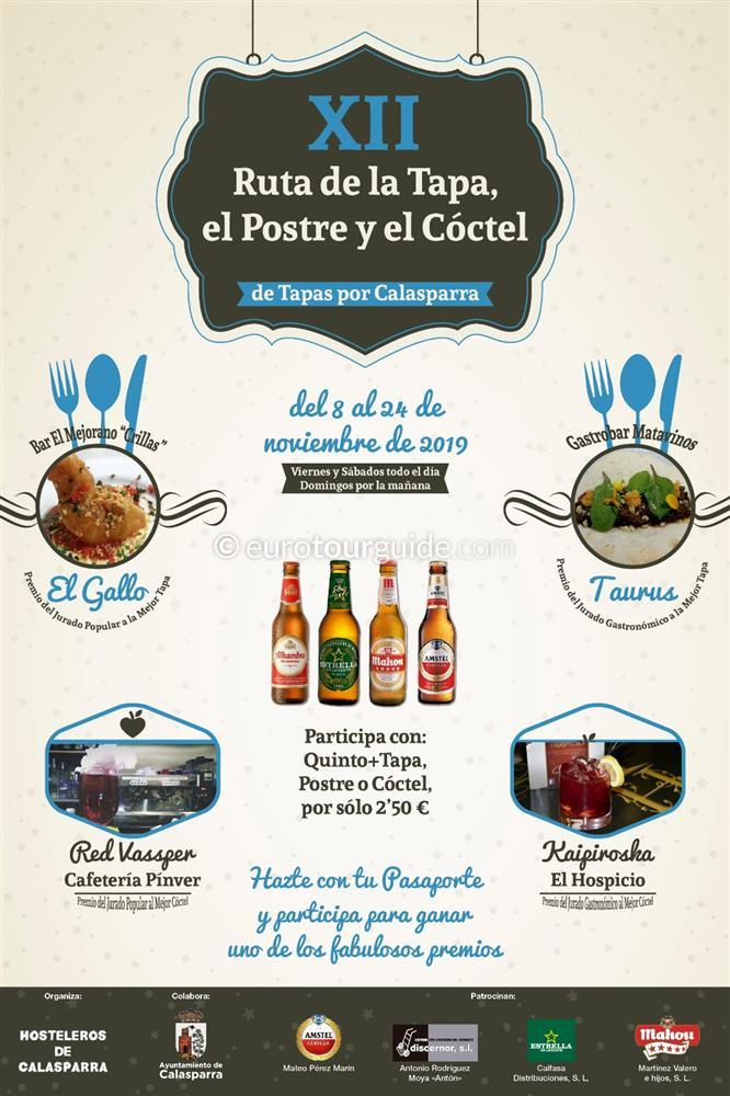 Calasparra 12th Tapas and Cocktail Route 8th-24th November 2019