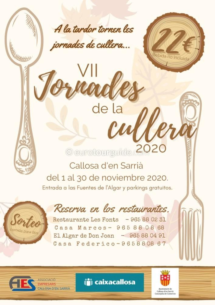 Callosa d'en Sarria 7th Cullera Menus 1st-30th November 2020