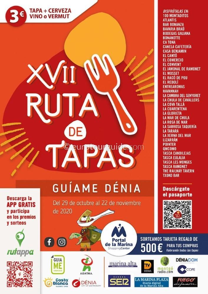 EuroTourGuide Denia 17th Guiame Tapas 29thOctober - 22ndNovember 2020