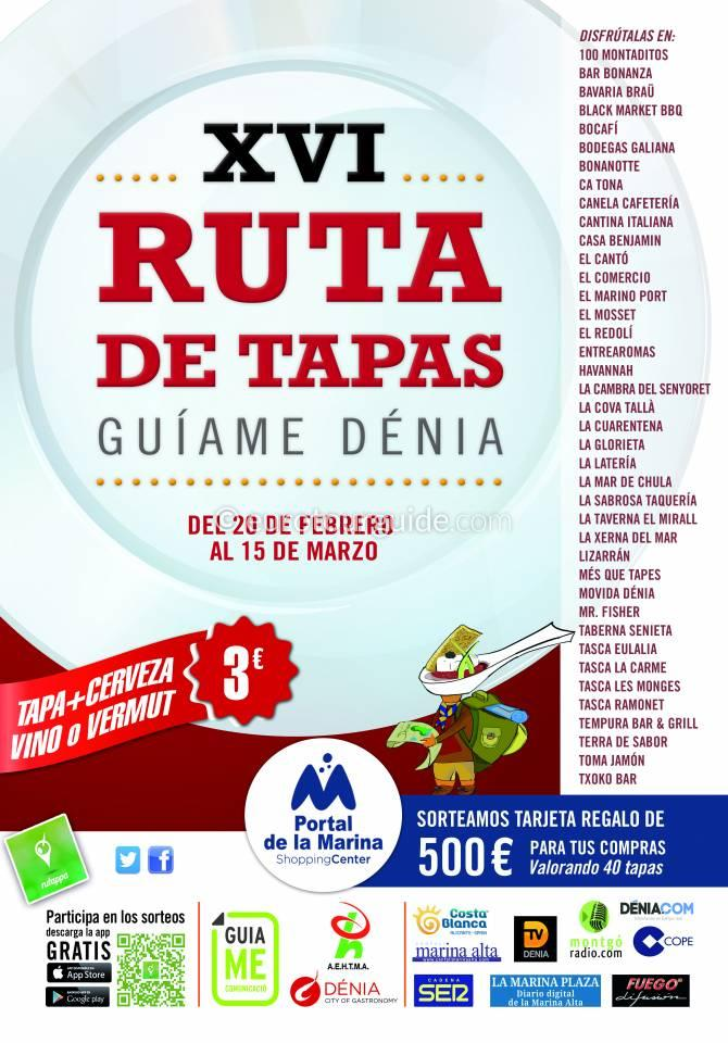 Denia 16th Guiame Tapas Route 20th February - 15th March 2020