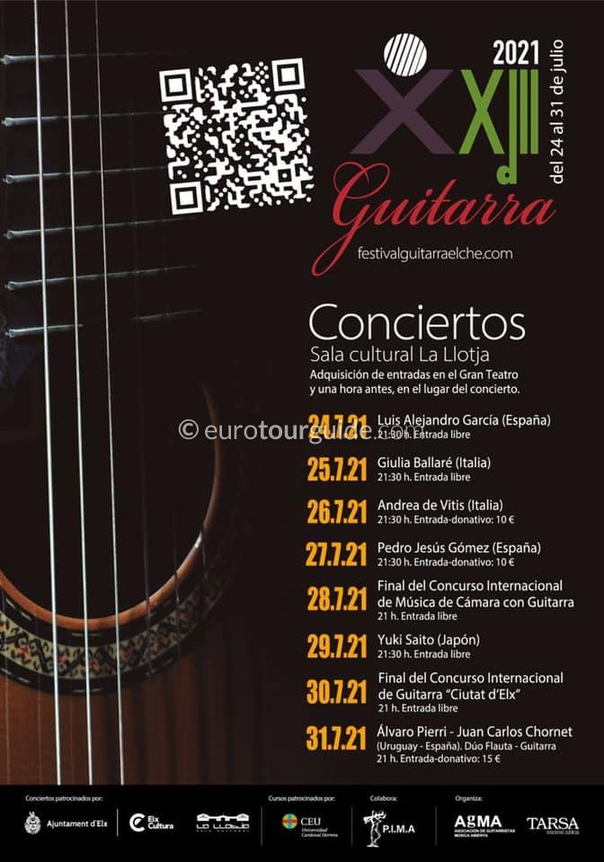 EuroTourGuide Elche 23rd Guitar Festival 24th-30th July 2021