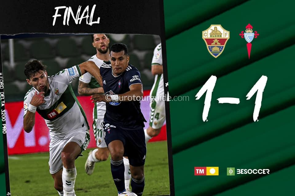 EuroTourGuide Match Report Elche CF v Celta Vigo 6th November 2020