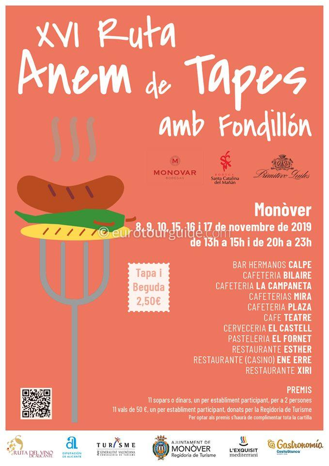 Monovar 14th Anem de Tapas Route 8th-10th & 15th-17th November 2019