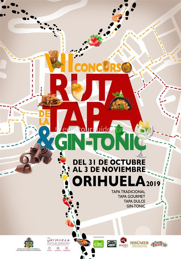 Orihuela 7th Tapas & Gin Tonic Route 31st October - 3rd November 2019
