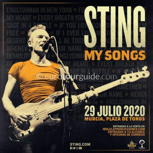 EuroTourGuide Coach Tour 29th July 2020 Sting World Tour Murcia
